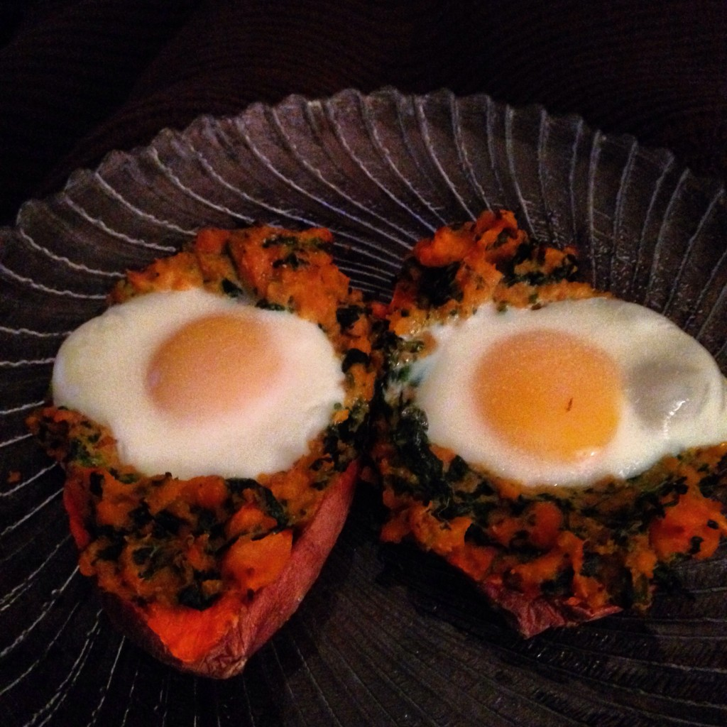 Twice-baked spinach-stuffed sweet potatoes with eggs
