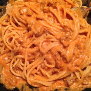 Spaghetti with Meaty Vodka Sauce